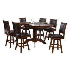 Canterbury Home Furnishing - Canterbury Kendall 7 Piece Swivel Counter Height Set in Rustic Oak - Clean lines and undeniable style - the main theses of Kendall Collection. Canterbury Kendall 7 Piece Counter Height Set reflects a design suitable for any kitchen, to any requirement. Indulge yourself in the pleasure to use high-grade furniture, created from high quality materials, embodied in perfect shape.