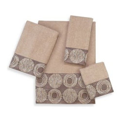 Avanti - Avanti Galaxy Bath Towel in Linen - Avanti Galaxy Linen Towels are embellished with a wide textured fabric band that features circles in metallic coloration. Creates a sleek & contemporary look for any bathroom decor.