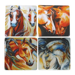 WL - Wild Stallion Spirit Themed Coaster Set with Four Unique Horse Designs - This gorgeous Wild Stallion Spirit Themed Coaster Set with Four Unique Horse Designs has the finest details and highest quality you will find anywhere! Wild Stallion Spirit Themed Coaster Set with Four Unique Horse Designs is truly remarkable.
