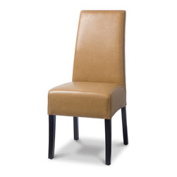 Palecek - Hudson Leather Dining Chair with Brown Stitch, Palomino - Plantation hardwood frame and legs. Fully upholstered in leather with top-stitch detailing. Available only as shown.