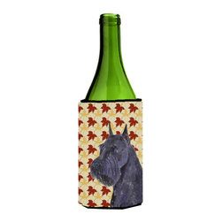 Caroline's Treasures - Schnauzer Giant Fall Leaves Portrait Wine Bottle Koozie Hugger - Schnauzer Giant Fall Leaves Portrait Wine Bottle Koozie Hugger Fits 750 ml. wine or other beverage bottles. Fits 24 oz. cans or pint bottles. Great collapsible koozie for large cans of beer, Energy Drinks or large Iced Tea beverages. Great to keep track of your beverage and add a bit of flair to a gathering. Wash the hugger in your washing machine. Design will not come off.