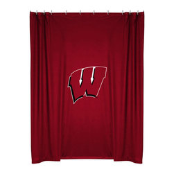 Sports Coverage - NCAA Wisconsin Badgers College Bathroom Shower Curtain - Features: