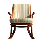"""Pre-owned Danish Modern Rocking Chair - This piece really rocks our world! This exceptional chair in solid teak, designed by Frank Reenskaug, is known as Model 182. It was designed for """"Bramin"""" Denmark, circa 1960s and it is in excellent original condition. Cushions are also in original condition with very minor wear. Beautiful chair with exceptional lines."""
