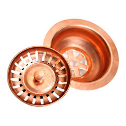 World CopperSmith™ - World CopperSmith Raw Kitchen Sink Drain - This solid copper drain will patina, and coordinates perfect with our raw copper kitchen sinks.