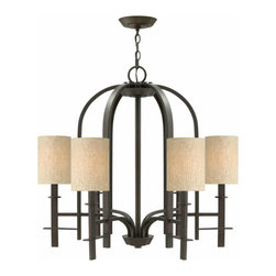 Country Iron and 6 Fabric Shades Chandelier - http://www.phxlightingshop.com/index.php?main_page=advanced_search_result&search_in_description=1&keyword=10425