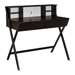 Trove Office Desk - Introduce a computer workstation with hutch that work for you. Trove is a pleasant piece that does what you need, without commandeering the visuals of your room. Made of MDF with a surface of smooth black melamine, Trove's four hutch compartments and two easy-glide storage drawers make this piece both versatile and aesthetically pleasing. Trove comes outfitted with a black steel A-frame base with black plastic foot pads to prevent scratching. Complete with a reinforced hole to feed your computer cords through, Trove is perfect for home, office, or bedroom use.