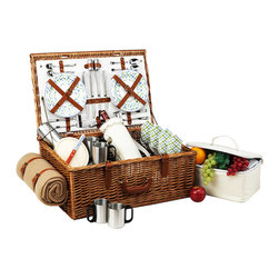 """Picnic At Ascot - Dorset Basket for Four with Coffee Set and Blanket, Wicker W/Gazebo - The Dorset English style picnic basket for four is made to last with quality construction and stylish details. Beautifully hand crafted using full reed willow, each basket includes ceramic plates, glass wine glasses, and the highest quality accessories.  Includes: (4) ceramic plates, glass wine glasses, stainless flatware, cotton napkins, double walled insulated stainless steel coffee cups, (1) food cooler, insulated wine pouch, hardwood cutting board, spill proof salt & pepper shakers, wood handle cheese knife, stainless waiters corkscrew, 50"""" x 60"""" acrylic blanket, and 24oz stainless steel vacuum flask. Natural Willow with leather handle, closures, hinge covers. Lifetime Warranty."""