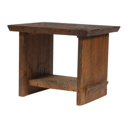 Reclamation Company - Marshall Side Table, Antique Pine, Bourbon - The Marshall is industrious but has a soft touch that would look good in a modern or rustic setting. Because this is a unique handmade piece, please allow a 4 to 6 week lead time. Note: Please use the swatch image for an indication of the wood and finish options.