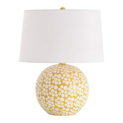 """Arteriors - Arteriors - Zoey Mustard Dot Porcelain Table Lamp - 17529-651 - Arteriors - Zoey Mustard Dot Porcelain Table Lamp - 17529-651 Features: Zoey Collection Table Lamp Round Shape Spherical base Features: a modern dot pattern in matte white Handmade artistry and reliable craftsmanship Zoey table lamp lends a chic and cheerful vibe to the living room Shiny mustard yellow glaze for an energetic and lively design. Includes nickel-plated harp, 8' clear/silver cord and three-way switch for light variation. Accepts 100W max bulb. Some Assembly Required .Dimensions: 22.5""""H Base: 11"""" Diameter x 11""""H Shade: 15.5"""" Diameter (top), 17"""" Diameter (bottom) x 10.5""""H"""