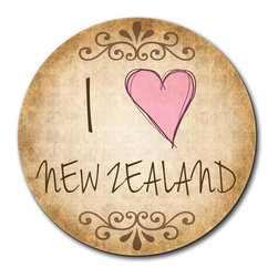 """Made on Terra - I Heart Love New Zealand Vintage Mouse Pad - You're unashamedly a little proud of yourself. You've done a bang-up job organizing your desk and it deserves something special. This fabulous mouse pad should do just nicely, thank you very much. Choose from Made on Terra's many mouse pads.  Measures 7 1/2"""" in diameter; 1/4"""" thick. Made of polyester on top and durable black rubber on the back. Sold individually."""
