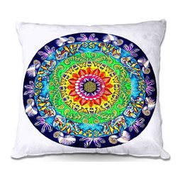 DiaNoche Designs - Pillow Woven Poplin from DiaNoche Designs by Rachel Brown - Samsara Mandala - Toss this decorative pillow on any bed, sofa or chair, and add personality to your chic and stylish decor. Lay your head against your new art and relax! Made of woven Poly-Poplin.  Includes a cushy supportive pillow insert, zipped inside. Dye Sublimation printing adheres the ink to the material for long life and durability. Double Sided Print, Machine Washable, Product may vary slightly from image.
