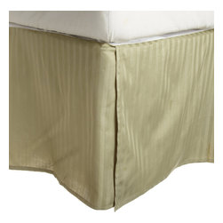 300 Thread Count Egyptian Cotton Queen Sage Stripe Bed Skirt - 300 Thread Count Egyptian Cotton Queen Stripe Sage Bed-Skirt