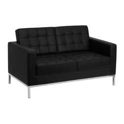 Flash Furniture - Hercules Lacey Series Contemporary Black Leather Love Seat with Stainless Steel - This attractive black leather reception love seat will complete your upscale reception area. The design of this love seat allows it to adapt in a multitude of environments with its button tufted cushions and stainless steel frame.