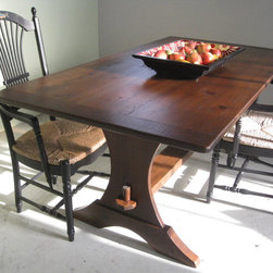 Reclaimed Wood Table with Half Moon Trestle - Reclaimed Wood Tables are classic , family durable tables. These tables can be customized to look sleek or rustic but always are casually elegant. All sizes and colors possible. www.lakeandmountainhome.com. 978-505-3222