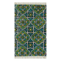 """Loloi Rugs - Loloi Rugs Aria Collection - Blue / Lime, 1'-9"""" x 5' - Expressive and relaxed, stylish and fun. The Aria Collection from India has it all. Pretty paisley patterns, flourishing flowers, dreamy damasks and magical medallion designs are printed onto 100% recycled cotton Chindi for scatter rugs that are flirty and fashionable. Dressed in a palette of bold, saturated colors that take you from cool blues and pinks to warm spice tones and modern tropical hues, too, Aria rugs come in select scatter sizes that will accent choice spaces with flair."""