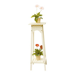 Achla - Wood Plant Stand with Shelf in Ivory Finish - * Handcrafted Eucalyptus Grandis woodFinish: Antique Ivory w Polyurethane for added strength. 12 in. L x 12 in. W x 36 in. H