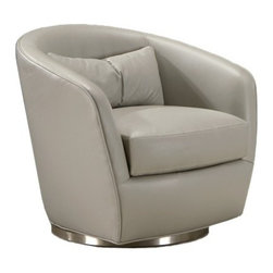 Thayer Coggin - Thayer Coggin | Turn Swivel Chair - Made in the U.S.A. by Thayer Coggin.The Turn Swivel Chair features a fully upholstered frame that wraps its curved shell shape in luxurious, hand-upholstered fabric or leather. Full of classic charm, this swiveling lounge chair boasts clean modern lines with a fluid arching backrest and armrests that flare outward and hug its plump seat cushion. Turn sits on a polished metal base and houses a memory swivel mechanism that returns its seat position to the center when not in use. Endowed with lasting quality and timeless appeal, Turn Swivel Chair can be enjoyed in a variety of modern living spaces for many years to come.