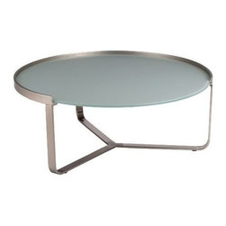 Modern Round Frosted Glass Coffee Table with Brushed Nickle Base Clark - Modern coffee table Clark features round frosted tempered glass table top and brushed nickle base. The original design will be a prominent home accent in your living area.