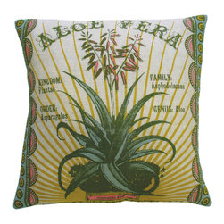 """KOKO - Botanica Pillow, Aloe Vera Print, 20"""" x 20"""" - The typography on this print really adds to the fun, vintage feel of the pillow. And you will love reading all the details about the aloe vera plant when you are cuddled up on the sofa!"""