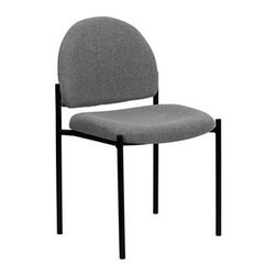 Flash Furniture - Flash Furniture Reception Black & Gray Fabric Metal Stack Dining Side Chair - Complete your office or reception area with this stacking side chair by Flash Furniture. The comfortably padded seat and back are provided to make your guests feel at ease while waiting. The steel frame of this chair is strong enough to last for years of use. [BT-515-1-GY-GG] Operating out of Etowah GA (with a warehouse in Reno NV) Flash Furniture specializes in bold upbeat décor for home office or commercial spaces. With a wide array of colors and fashions to fit your budget Flash Furniture accommodates your every need. Features include Stackable Guest Chair Gray Fabric Upholstery 2.5'' Thick Padded Seat Two Steel Cross Brace Support Bars underneath Seat .75'' Leg Diameter Steel Tubular Steel Frame Black Powder Coated Finish CA117 Fire Retardant Foam. Specifications Seat Size: 19W x 18.5D Back Size: 18.5W x 14.25H Seat Height: 19H Finish: Black Powder Coat Color: Black Gray Upholstery: Gray Fabric.