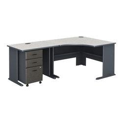 BBF - Bush Series A 3-Piece Corner Computer Desk in Slate - Bush - Computer Desks - WC8427APKG3