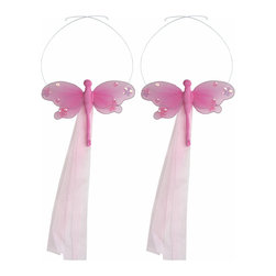 "Bugs-n-Blooms - Dragonfly Tie Backs Dark Pink Jewel Nylon Dragonflies Tieback Pair Set Decor - Window Curtains Holder Holders Tie Backs to Decorate for a Baby Nursery Bedroom, Girls Room Wall Decor - 5""W x 4""H Jewel Curtain Tieback Set Dragonfly 2pc Pair - Beautiful window curtains tie backs for kids room decor, baby decoration, childrens decorations. Ideal for Baby Nursery Kids Bedroom Girls Room.  This gorgeous dragonfly tieback set is embellished with sequins and glitter.  This pretty dragonfly decoration is made with a soft bendable wire frame & have color match trails of organza ribbons.  Has 2 adjustable wires to wrap around the curtains; or simply remove & add your own ribbon for a personal & custom look.  Visit our store for more great items. Additional styles are available in various colors, please see store for details. Please visit our store on 'How To Hang' for tips and suggestions. Please note: Sizes are approximate and are handmade and variances may occur. Price is for one pair (2 piece)"