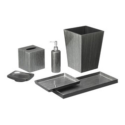 Belle & June - Brushstroke Silver/Black Bath Set - Elevate your bathroom and invite a few museum pieces in. You'll admire the clean, sculpted lines and the detailed craftsmanship of this bath set. Each set takes 100 days to create and the black and silver finish is exquisite. Food friendly, feel free to press the trays into service in the dining room.