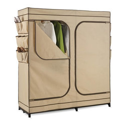 "Honey Can Do - 60"" Double Door Storage Closet w Shoe Organiz - Breathable fabric cover- keeps clothes fresh. Exterior shoe storage- 9 pockets for easy access. Heavy-duty steel frame- sturdy & rustproof. Versatile storage area- perfect for laundry room, garage or basement. 60 in. x 19.69 in. x 62.99 in."