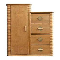 Pre-owned Rare Vintage Stacked Rattan Armoire - A fine specimen museum quality stacked rattan armoire featuring a single closet space with four large drawers for storage. The armoire features a stacked rattan body with mahogany counter tops adorn with brass nail head accents and brass drawer pulls. Circa 1930s and the condition is excellent!