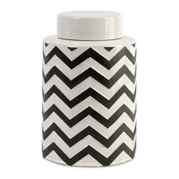 iMax - iMax Chevron Small Canister w/ Lid X-58181 - The most popular twist on stripes covers this small lidded canister that looks great in a variety of spaces.
