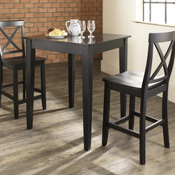 Crosley Furniture - 3 Pc Pub Dining Set w Tapered Leg and X-Back - Includes Pub Table and 2 X-Back Stools in Black. Solid Hardwood & Veneer Construction Table . Solid Hardwood Stools. Hand Rubbed, Multi-Step Finish. Solid Hardwood Tapered Legs. Shaped Back for Comfort. Table Dimensions: 36 in. H x 32 in. W x 32 in. D. Stool Dimensions: 40 in. H x 18.5 in. W x 22.5 in. DConstucted of solid hardwood and wood veneers, the 3 piece Pub / High Dining set is built to last. Whether you are looking for dining for two, or just a great addition to the basement or bar area, this set is sure to add a touch of style to any area of your home.
