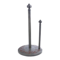 "Old Dutch - 15 H. Art Nouveau Standing Towel Holder - �Art Nouveau� Standing Paper Towel Holder by Old Dutch 15"" H,   keeps your paper towels handy and tidy on the countertop. Portable design lets you easily bring paper towels to the job at hand.  Weighted base & convenient tear-off bar. Steel construction with a warm, grey and brown finish is easy to assemble. Ships in a full color gift box. Coordinates with other �Art Nouveau� items such as Canister Sets, Cookie Jars and Kitchen Tool Caddies  This item cannot be shipped to APO/FPO addresses  NOTE:"