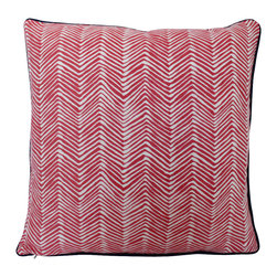 The Pillow Studio - Petite ZigZag Pillow Cover in Coral Shrimp by China Seas for Quadrille - This petite chevron by China Seas for Quadrille is a great color and a unique take on a chevron.