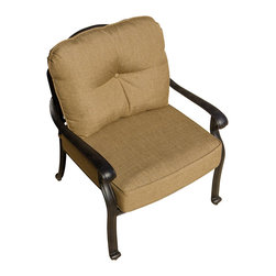 Lakeview Outdoor Designs - Rosedown Cast Aluminum Patio Club Chair - The Rosedown collection from Lakeview Outdoor Designs adds sophistication to any outdoor area. This patio lounge chair has an intricate floral design that complements any patio decor and a generous seat which offers maximum comfort. The deep seat has a 5-inch thick linen sesame cushion made from all-weather Sunbrella fabric which resists fading, moisture and mildew. He hand crafted, cast aluminum frame is welded for premium durability and capped with non-marking leveling feet on the bottom for additional support. The powder-coated, antique bronze aluminum frame is rust resistant and cleans up easily with mild soap and water.
