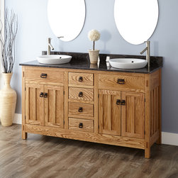 "60"" Mission Hardwood Vanity for Semi-Recessed Sink - A straight-forward Mission-inspired design and generous storage make this 60"" Hardwood Double Vanity an appealing addition. This piece is crafted of durable oak and features a pair of semi-recessed sinks."
