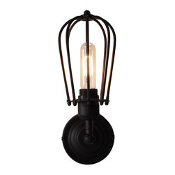 ParrotUncle - Industrial Iron Cage-like Shade Wall Sconce - Add a little bit loft style through your lighting device in your life with this special pendant light. With its bulb surrounded by black iron cage, you can feel the strong sense of industrial topic it talks about. Just select a bulb according to your preference, and show your distinctive understanding of what life should be like with it in your home decor.