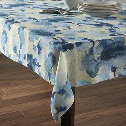 "Adeline 54""x120"" Tablecloth - Large watercolor blooms wash gauzy, lightweight in tonal blue petals, from deep marine to palest blue."