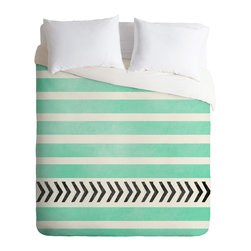 DENY Designs - Allyson Johnson Mint Stripes And Arrows Duvet Cover - Turn your basic, boring down comforter into the super stylish focal point of your bedroom. Our Luxe Duvet is made from a heavy-weight luxurious woven polyester with a 50% cotton/50% polyester cream bottom. It also includes a hidden zipper with interior corner ties to secure your comforter. it's comfy, fade-resistant, and custom printed for each and every customer.