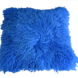 Curly Fur Imports - Mongolian Lamb Fur Pillow - Royal Blue - Our world famous dreamy pillows made from 100% real soft and fluffy Tibetan lamb fur on one side of the pillow, backed with faux suede backing. This pillow are fully lined on both the front and back to provide stability and longevity. You can fill the pillow with a stuffing material or pillow of your choice. It add a touch of softness, beauty, and warmth to any room. The fur is over 3.5 inches long. All colors are professionally dyed. Tibetan lamb fur is a luxurious fur that is incredibly soft, silky and curly.