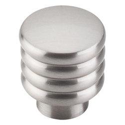 "Top Knobs - Modern Deco Knob 1"" - Brushed Satin Nickel - Width - 1"", Projection - 1 1/8"", Base Diameter - 5/8"""