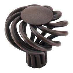 """Top Knobs - Large Round Twist Knob 1 1/2"""" - Patina Rouge - Width - 1 1/2"""", Projection - 1 1/4"""", Base Diameter - 1/2"""""""