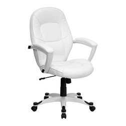 Flash Furniture - Hercules Executive Mid Back Swivel Office Cha - Ultra contemporary white leather executive office chair. Modern design. Sculpted and designer mid back. Thickly padded seat and back. Heavy duty nylon arms with high gloss white finish. Thickly padded and leather upholstered arm rests. Eco-friendly white leather upholstery. Pneumatic seat height adjustment. Spring tilt control mechanism. Tilt tension control. Heavy duty nylon base with high gloss white finish. Black nylon accent pieces. Dual wheel casters. Warranty: 2 year limited. Assembly required. Back: 21.25 in. W x 24.75 in. H. Seat: 20.75 in. W x 20.5 in. D. Seat Height: 18.5 - 20.75 in.. Arm Height from Floor: 28.5 - 30.5 in.. Arm Height from Seat: 9 in.. Overall: 27.25 in. W x 27.25 in. D x 42 - 44.25 in. H (40 lbs.)