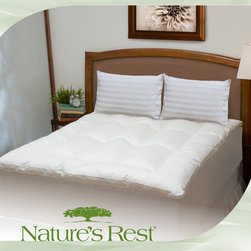 Swiss Lux - Swiss Lux Eco Fiber Bed Topper - Sleep more soundly with this hypoallergenic bed topper by Nature's Rest. Made with eco-friendly fibers, this topper has a polyester fill that gives it a soft, plush feel, and its cover is made of high-quality cotton to further enhance your comfort.
