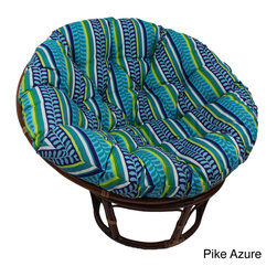 International Caravan - International Caravan Bali 42-inch Outdoor Spun Poly Fabric Print Rattan Papasan - Relax in Comfort on the Bali Round Rattan Papasan Chair with Outdoor Print Cushion. Its environment friendly Recycled Poly-Fill Cushion and Exotic Indonesian Rattan Frame make it an excellent addition to your Home,both Inside and Out.