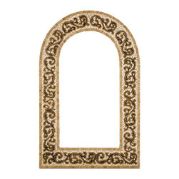 Landmark Metalcoat - Landmark Metalcoat Mosaic Mirror Frame Celeste, Brass Highlight Polish - All Landmark Metalcoat products are made to order. lead time 3 -5 weeks. Proudly made in the USA. Mesh mounted for easy installation.