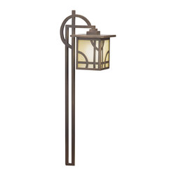 LANDSCAPE - LANDSCAPE Larkin Estate Path Light X-ZO44451 - From the Larkin Estate, this Kichler Lighting path light is influenced by the elegant but still-modern lines arts and crafts styling. The umber etched glass is a perfect backdrop for the Olde Bronze finish, which accentuates the clean, modern lines and curves.