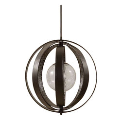 Uttermost Trofarello 1 Light Black Pendant - Matte black rings with stained crushed glass inside suspended around a crackled glass globe. Matte black rings with stained crushed glass inside suspended around a crackled glass globe.