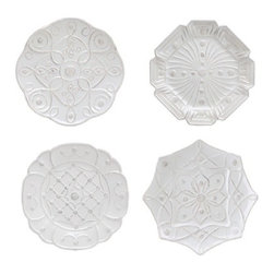 """Juliska - Juliska Jardins du Monde Dessert Plates, Whitewash, Set of 4 - Juliska Jardins du Monde Dessert Plates Set/4 Whitewash.Decorated with the geometric patterns four historic gardens, these lavishly ornamented dessert plates are a sweetly sophisticated addition to any tastemaker's cache, with classical motifs that flourish in any decor. Dimensions: 9.5"""" W"""