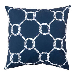 """Twisting Knot Print on Navy Pillow - 20"""" x 20"""" - A lattice of rope knot work marries a traditional pattern with a classic motif, creating a textural two-color design that looks elegant and essential in transitional beach houses as well as in a variety of old-world styles and themes. The Twisting Knot Print on Navy Pillow adds a dark, traditional tone to a color palette for a pleasing, graphic overall look in the room."""