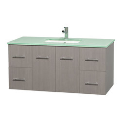 "Wyndham Collection - Centra 48"" Grey Oak Single Vanity, Countertop, Undermount Square Sink, No Mirror - Simplicity and elegance combine in the perfect lines of the Centra vanity by the Wyndham Collection. If cutting-edge contemporary design is your style then the Centra vanity is for you - modern, chic and built to last a lifetime. Available with green glass, pure white man-made stone, ivory marble or white carrera marble counters, with stunning vessel or undermount sink(s) and matching mirror(s). Featuring soft close door hinges, drawer glides, and meticulously finished with brushed chrome hardware. The attention to detail on this beautiful vanity is second to none."